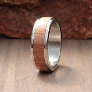 African Mahogany Wood Inlay Ring