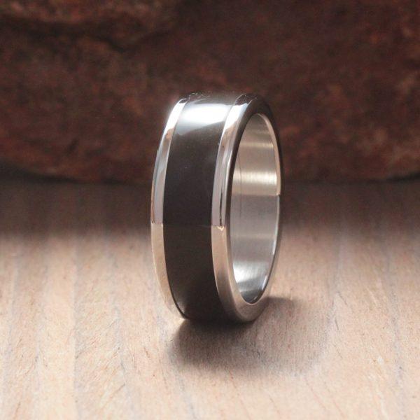 Coffee Bean Acrylic Stone Inlay Ring