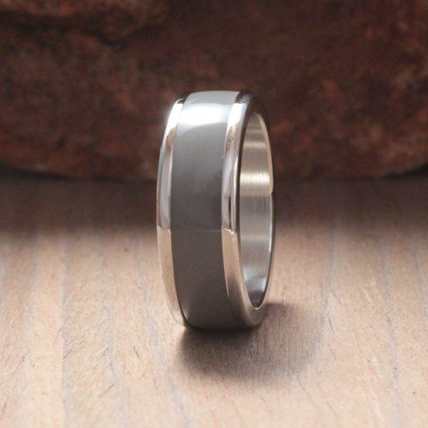 Deep Grey Acrylic Stone Inlay Ring