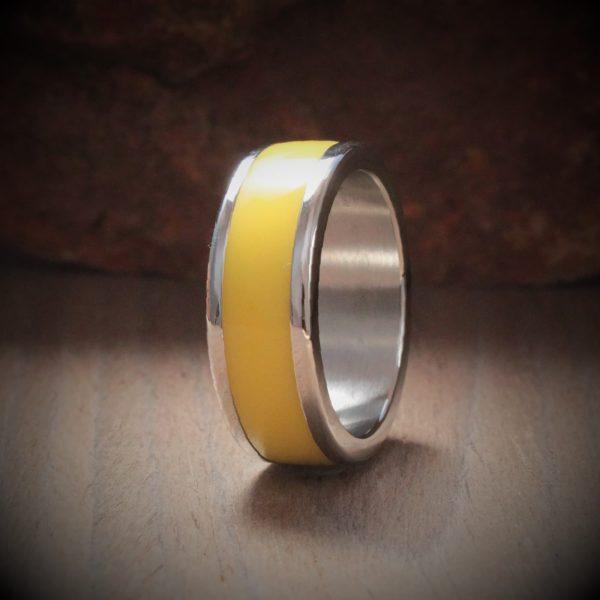 Forsythia Acrylic Stone Inlay Ring