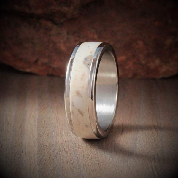 Fossil Acrylic Stone Inlay Ring