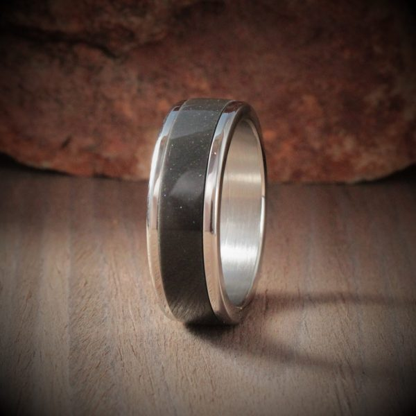 Pearl Anthracite Acrylic Stone Inlay Ring