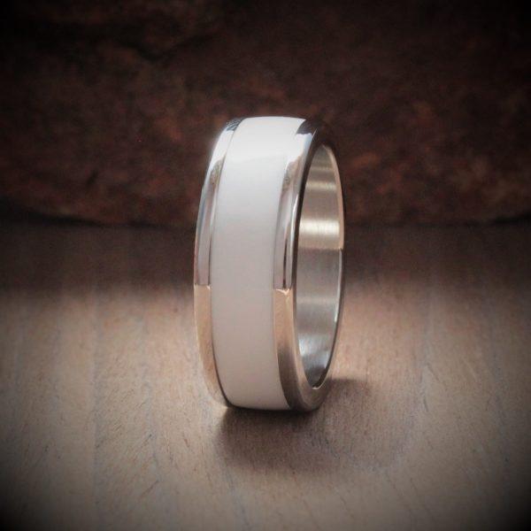 Petra White Acrylic Stone Inlay Ring