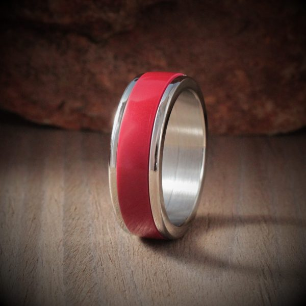 Ruby Red Acrylic Stone Inlay Ring
