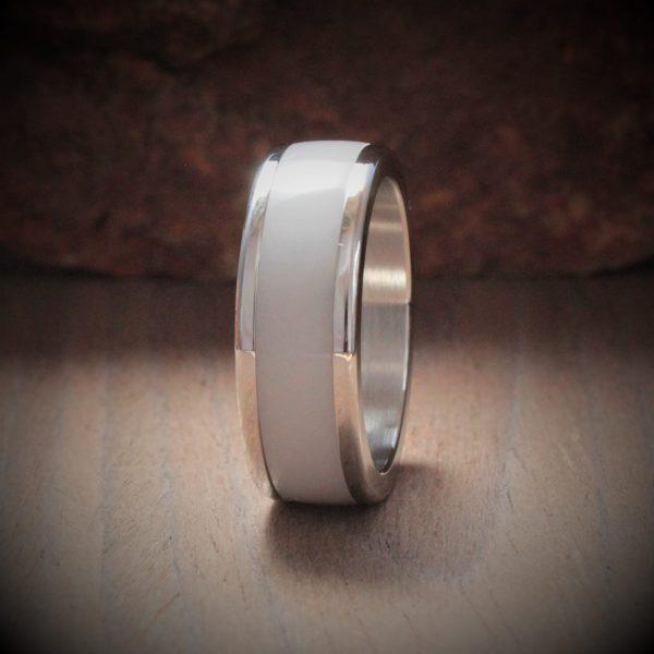 Silver Grey Acrylic Stone Inlay Ring
