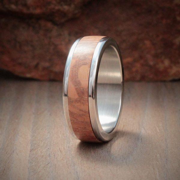 Silver Oak Wood Inlay Ring