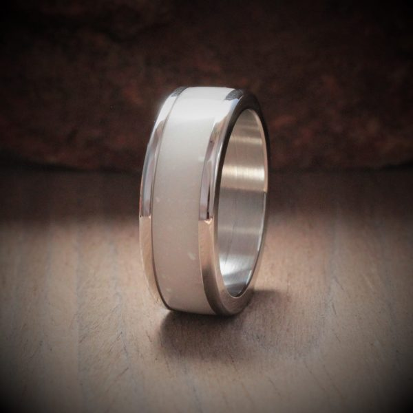 White Current Acrylic Stone Inlay Ring