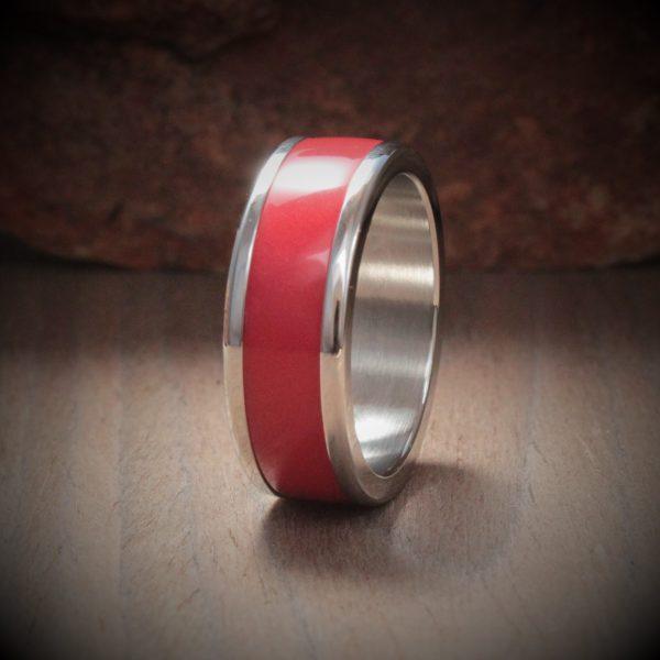 Blast Red Acrylic Stone Inlay Ring