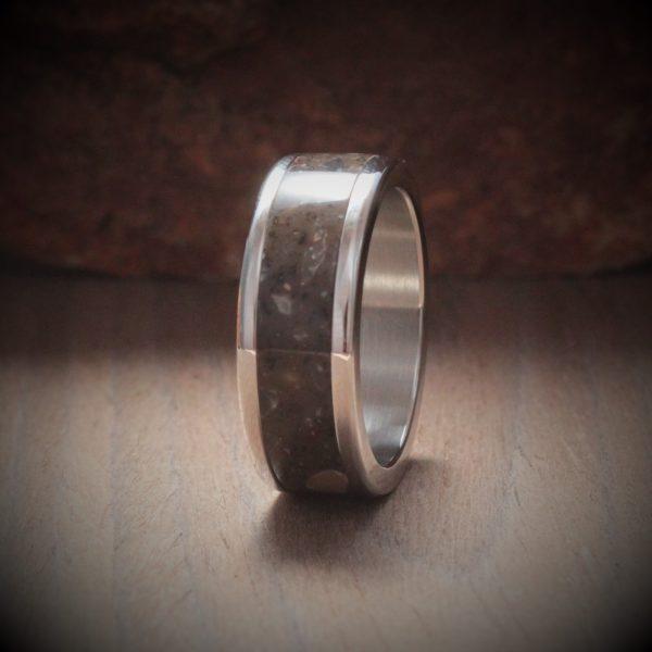 Cocoa Brown Acrylic Stone Inlay Ring