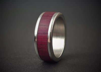 Purpleheart Wood Inlay Ring