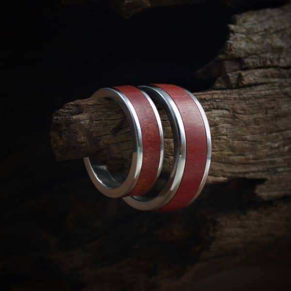 Red Ivory Wood Ring Inlay