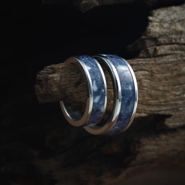 Sea Blue Acrylic Stone Inlay Ring