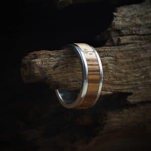 Zebrano Wood Inlay Ring